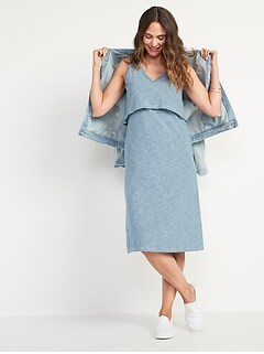 Maternity Sleeveless Double Layer Nursing Midi Dress