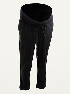 Maternity Rollover-Waist Linen-Blend Straight Cropped Pants