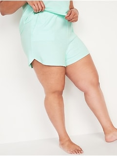Extra High-Waisted Dolphin-Hem Plus-Size Lounge Shorts -- 4-inch inseam