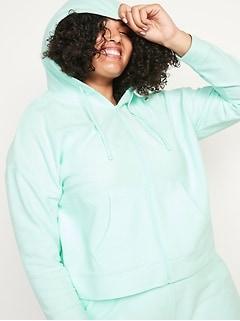 Lightweight Textured Plus-Size Cropped Zip Hoodie