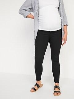 Maternity Rollover-Waist Rockstar 360° Stretch Super Skinny Black Jeans