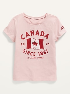 2021 Canada Flag Graphic Tee for Girls