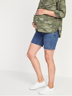 Maternity Full Panel Relaxed Cut-Off Jean Shorts -- 7-inch inseam