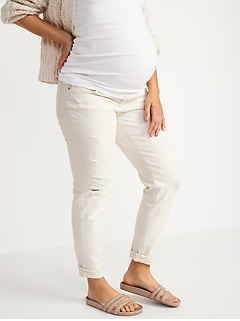 Maternity Front Low Panel O.G. Straight Ripped White Jeans