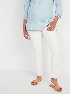 Maternity Premium Full Panel Rockstar Super Skinny White Jeans