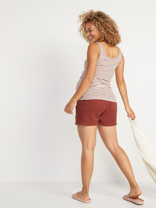 Maternity Rib-Knit Side-Shirred Henley Tank Top