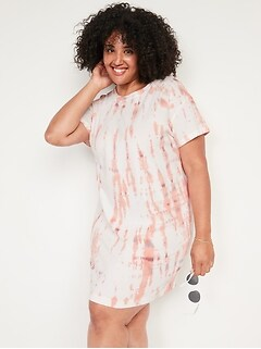 Vintage Tie-Dye Plus-Size T-Shirt Shift Dress