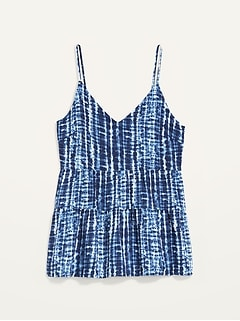 Tiered Tie-Dyed Cami Top for Women