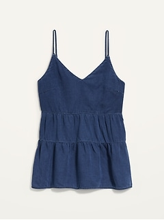 Tiered Chambray Cami Top for Women