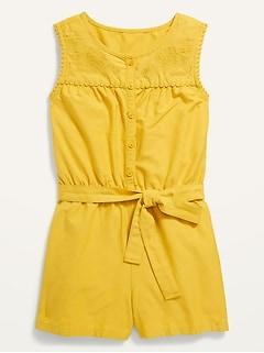 Sleeveless Embroidered Tie-Waist Romper for Girls