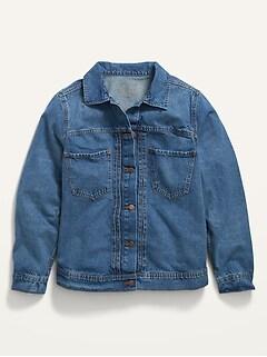 Cropped Workwear Plus-Size Jean Jacket