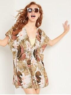 Couvre-maillot caftan en tissage doux noué à la taille pour Femme