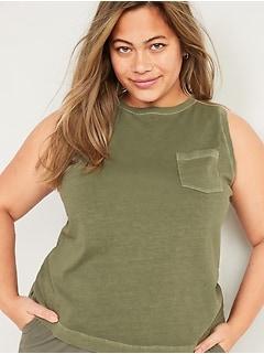 T-shirt confort rétro ras du cou sans manches, taille forte