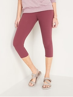 High-Waisted Rib-Knit Cropped Leggings for Women