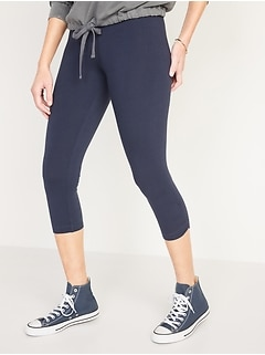 High-Waisted Side-Ruched Cropped Leggings for Women