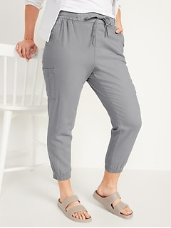 High-Waisted Linen-Blend Tapered Jogger Pants for Women