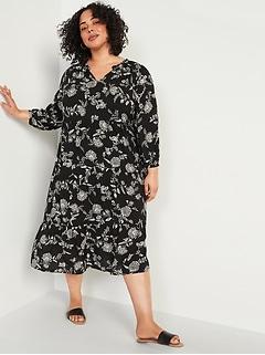 Floral-Print Plus-Size Midi Swing Dress