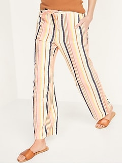 High-Waisted Dobby-Stripe Linen-Blend Wide-Leg Pants for Women