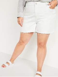 High-Waisted Secret-Slim Pockets Slouchy Plus-Size White Cut-Off Jean Shorts -- 5-inch inseam