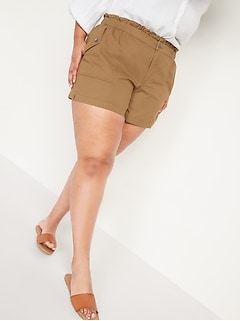 High-Waisted Twill Plus-Size Utility Shorts  -- 5-inch inseam