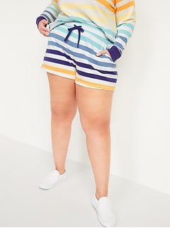 Mid-Rise Vintage Striped Plus-Size Sweat Shorts -- 3.5-inch inseam
