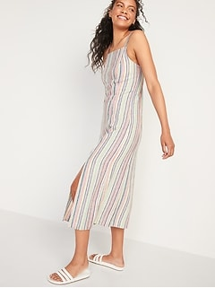 Sleeveless Striped Linen-Blend Maxi Shift Dress for Women
