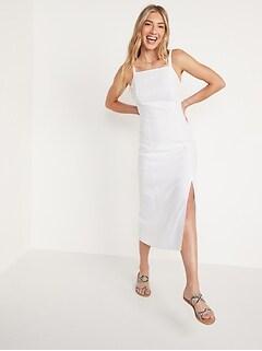 Sleeveless Linen-Blend Maxi Shift Dress for Women