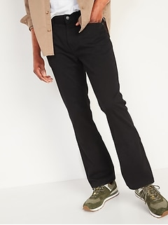 Boot-Cut Rigid Non-Stretch Black Jeans for Men