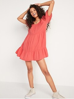 Tiered Puff-Sleeve Swing Dress for Women
