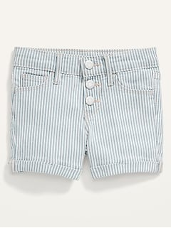 Railroad-Stripe Snap-Fly Jean Shorts for Toddler Girls