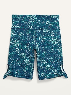 High-Waisted PowerSoft Side-Tie Biker Shorts for Girls