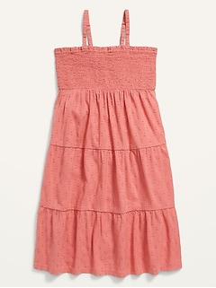 Sleeveless Clip-Dot Tiered Swing Dress for Girls