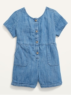 Button-Front Chambray Utility Romper for Toddler Girls