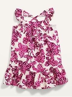 Robe trapèze à fleurs à bordure à volants pour Bébé