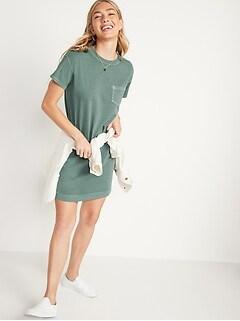 Loose Vintage Garment-Dyed T-Shirt Shift Dress for Women