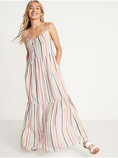 Tiered Maxi Swing Sundress for Women