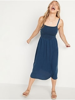 Smocked Fit & Flare Cami Midi Dress for Women