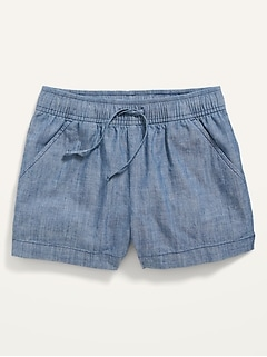 Chambray Pull-On Shorts for Girls