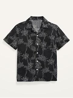 Chemise de camping en mélange de lin à imprimé à manches courtes pour Garçon