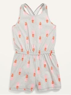 Printed Sleeveless Soft-Knit Cross-back Romper for Girls