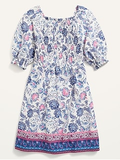 Floral Smocked Elbow-Sleeve Dress for Girls