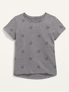 Softest Peace Sign-Print Crew-Neck T-Shirt for Girls