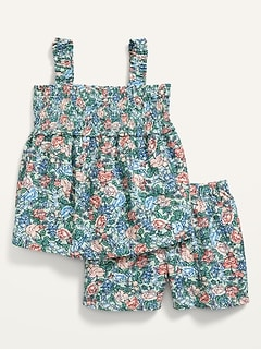 Smocked Floral Top and Shorts Set for Toddler Girls