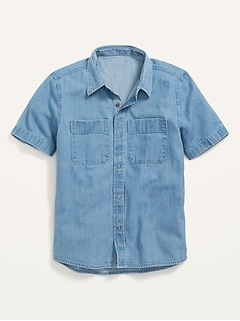 Short-Sleeve Button-Front Jean Workwear Shirt for Boys