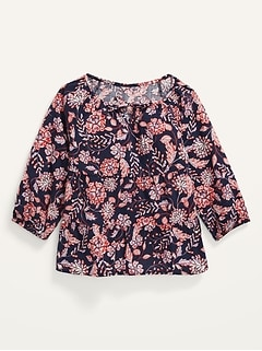 Printed Long-Sleeve Tiered Scoop-Neck Blouse for Girls