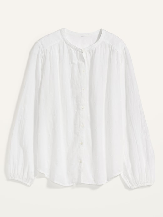 Oversized Embroidered Button-Front Poet Blouse for Women