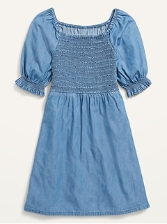 Elbow-Sleeve Smocked Bodice Chambray Dress for Girls