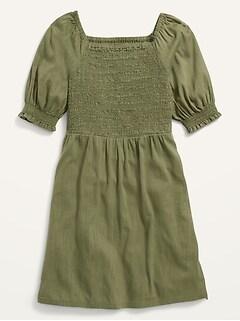 Smocked Elbow-Sleeve Dress for Girls