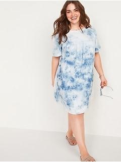 Tie-Dye Plus-Size Jean Swing Dress