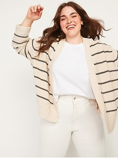 Textured Plus-Size Open-Front Cardigan Sweater